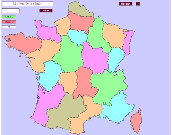 Le jeu des régions de France