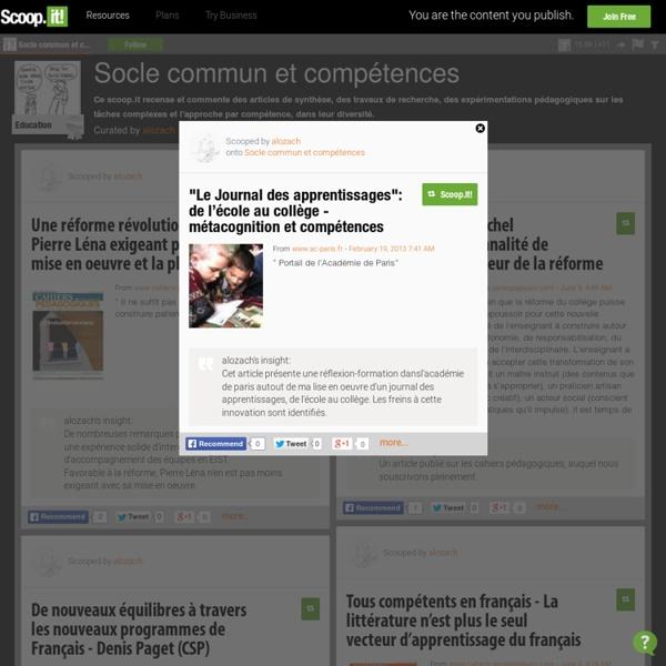 """""""Le Journal des apprentissages"""": de l'école au collège - métacognition et compétences"""