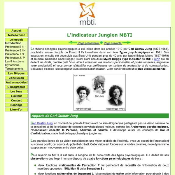 Les 8 fonctions cognitives de J. et modèle MBTI