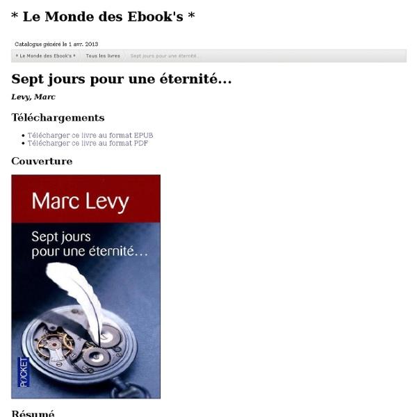 Sept jours pour une éternité - Marc Lévy
