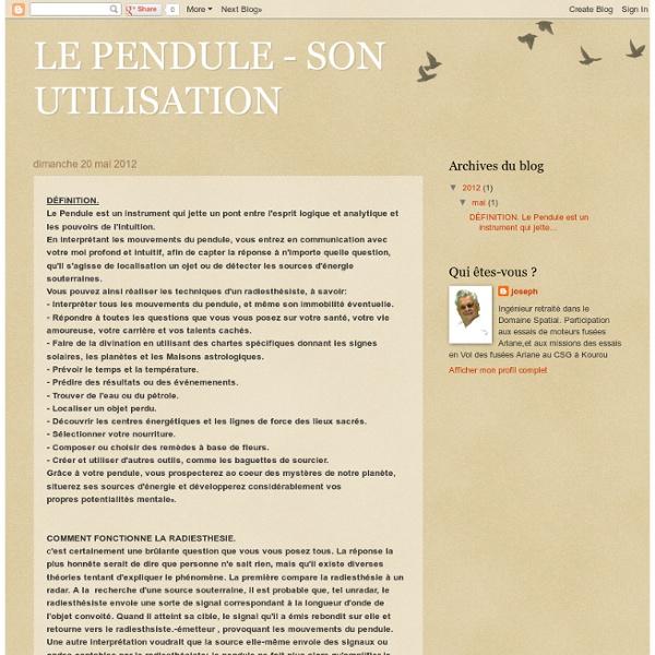 LE PENDULE - SON UTILISATION