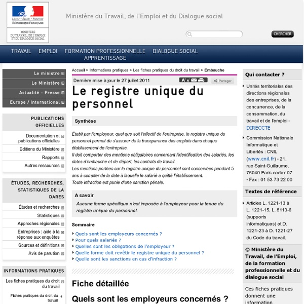Le registre unique du personnel