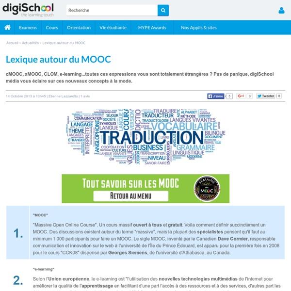 Le vocabulaire des MOOC