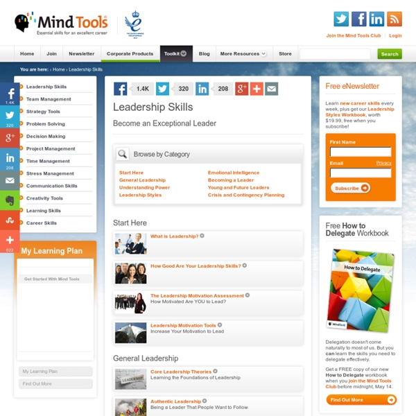 Leadership Skills, Techniques and Tools from MindTools