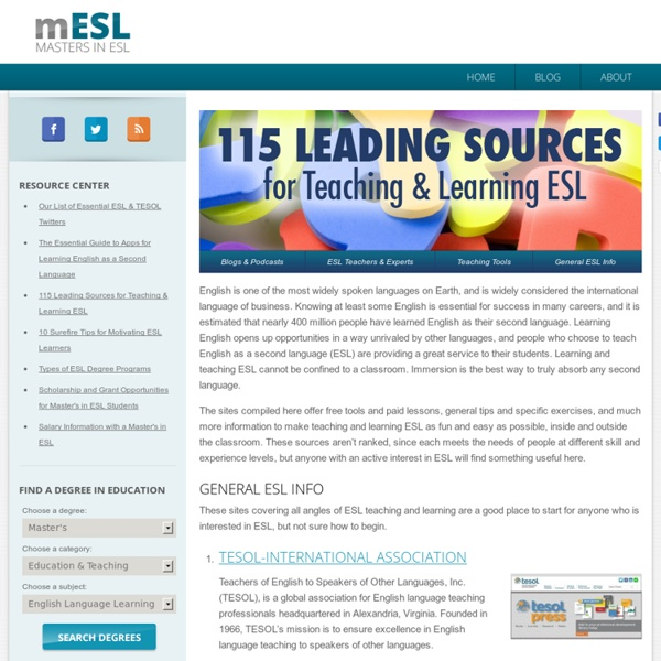 115 Leading Sources for Teaching & Learning ESL – Masters in ESL