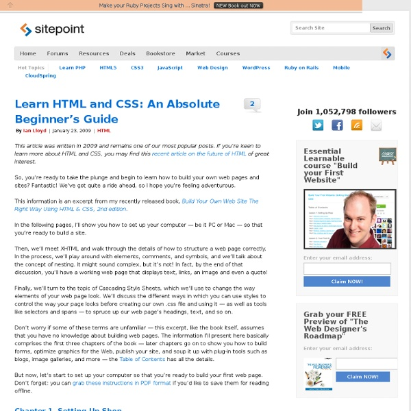 Learn HTML and CSS: An Absolute Beginner's Guide [HTML & XHTML Tutorials]