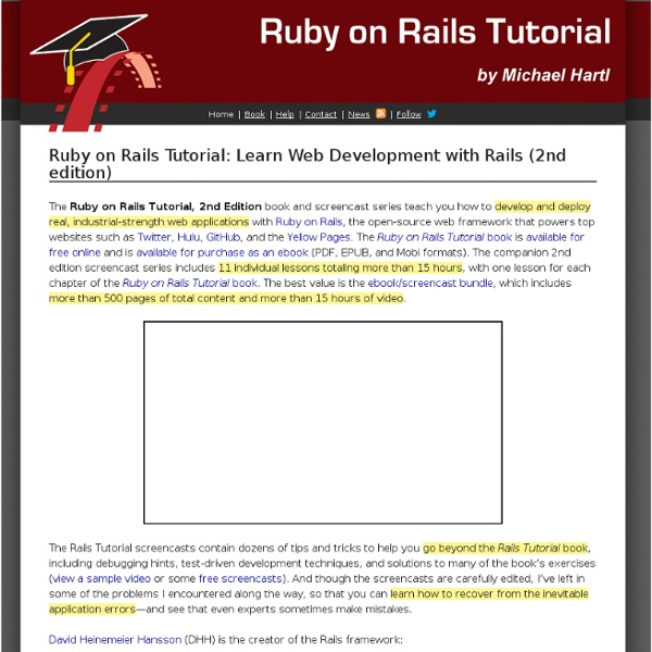 Learn Web Development with the Ruby on Rails Tutorial