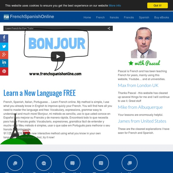 Free French lessons: Spanish, Portuguese, Italian