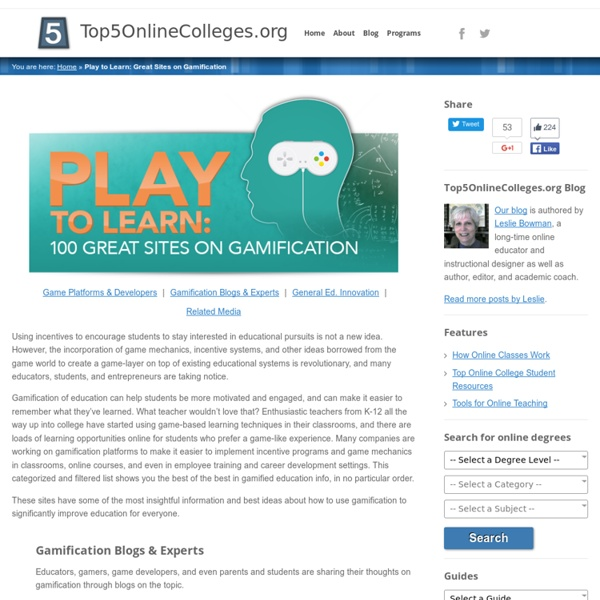 Play to Learn: 100 Great Sites on Gamification
