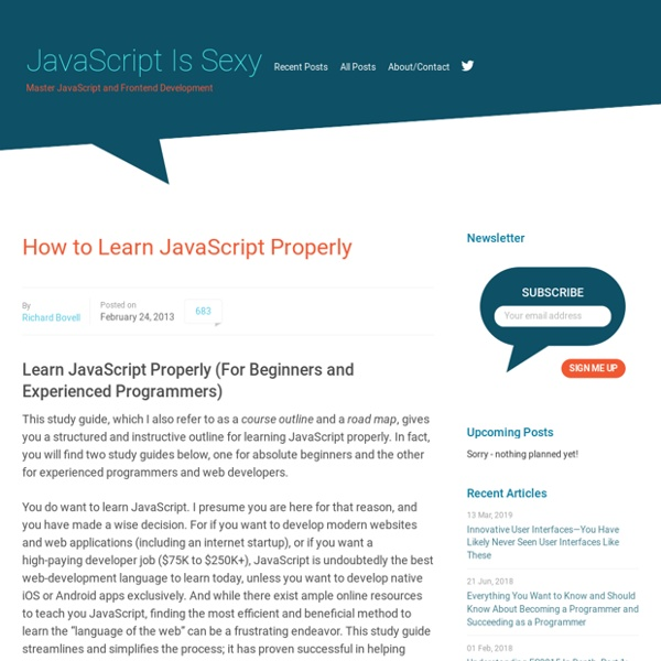 How to Learn JavaScript Properly – JavaScript Is Sexy