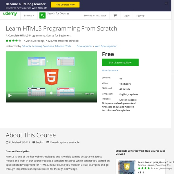 HTML5 Tutorial - Online HTML5 for Beginners