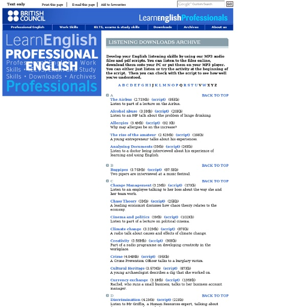 Listening downloads - British Council - LearnEnglish - Professionals