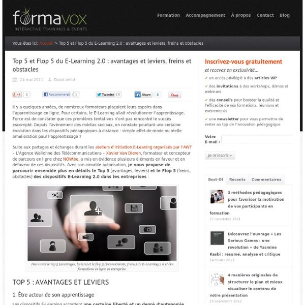 %Top 5 et Flop 5 du E-Learning 2.0 : avantages et leviers, freins et obstacles