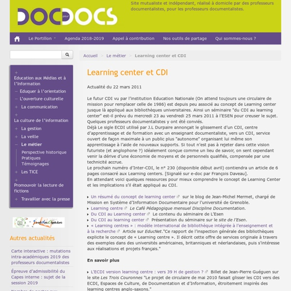 Doc pour docs : learning centers