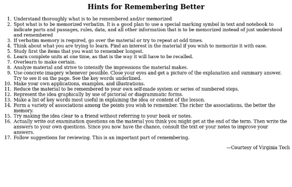 Hints for Remembering Better