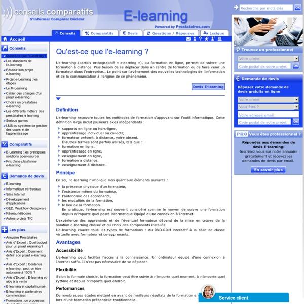 Qu'est ce que le e-learning - e-learning definition - outils e-learning