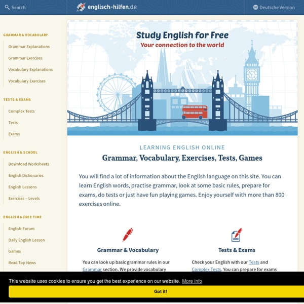 Learning English - Exercises, Grammar, Vocabulary, Exams