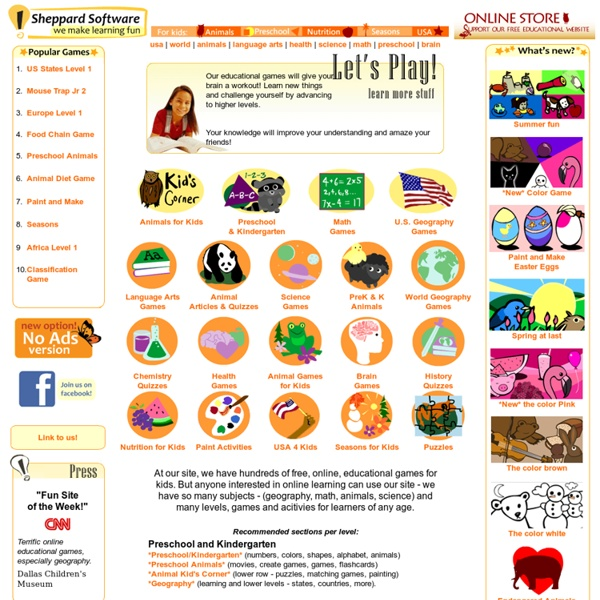Fun web-based learning games - math, animals, geography, preschool and more