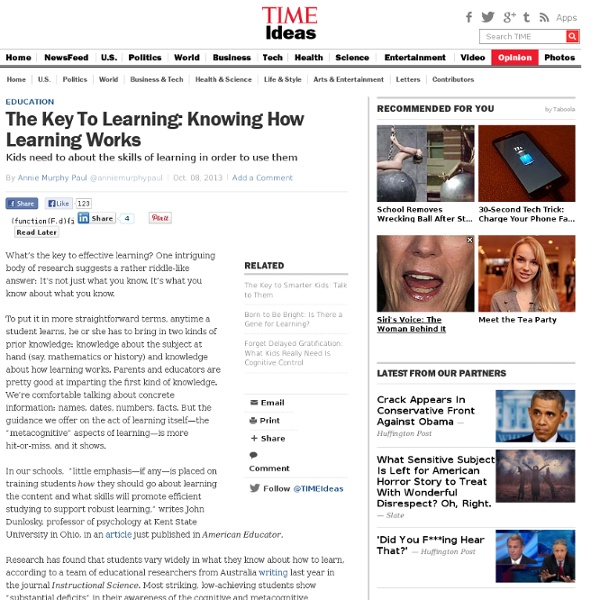 The Key To Learning: Knowing How Learning Works