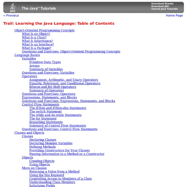 Trail: Learning the Java Language: Table of Contents (The Java™ Tutorials)
