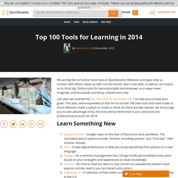 Top 100 Tools for Learning in 2014