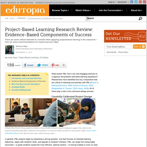 Project-Based Learning Research: Evidence-Based Components of Success