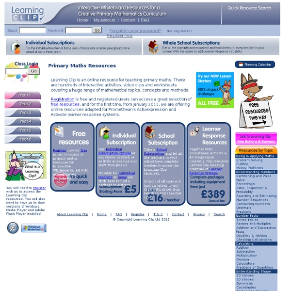Learning Clip - IWB Resources for Primary Maths