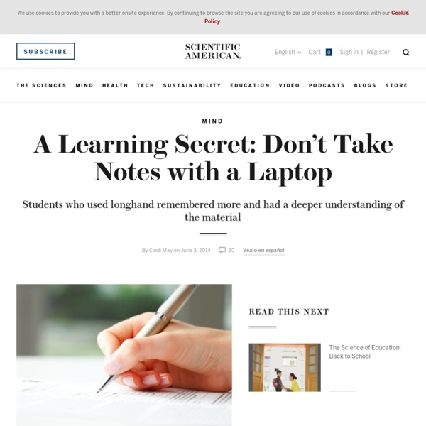 A Learning Secret: Don't Take Notes with a Laptop