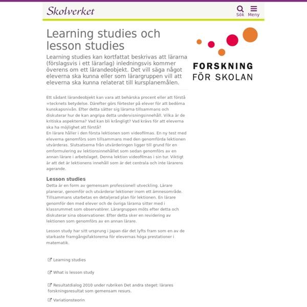 Learning studies och lesson studies