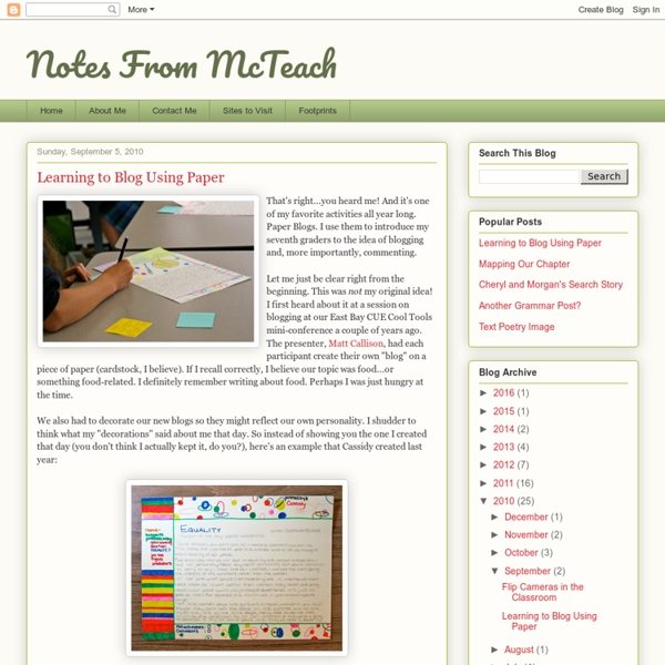 Notes From McTeach: Learning to Blog Using Paper