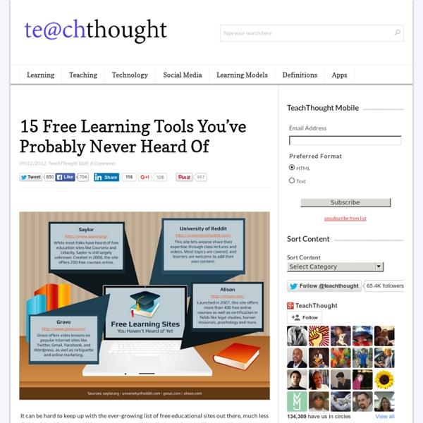 15 outils d'apprentissage gratuits Vous avez probablement jamais entendu parler