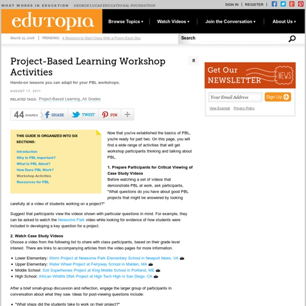 Project-Based Learning Workshop Activities