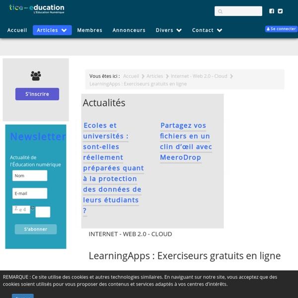 LearningApps : Exerciseurs gratuits en ligne