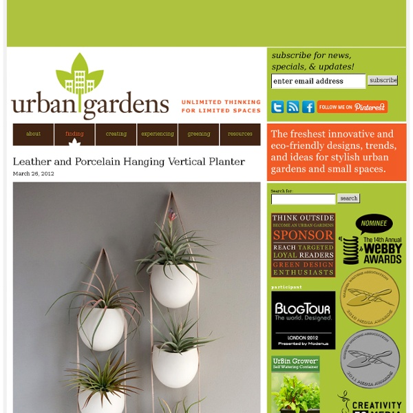 Hanging porcelaine et en cuir vertical Jardinières