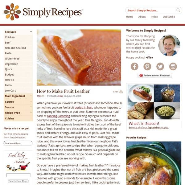 Fruit Leather Recipe, How to Make Fruit Leather