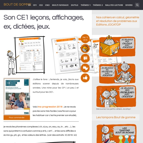 Son CE1 leçons, affichages, ex, dictées, jeux.