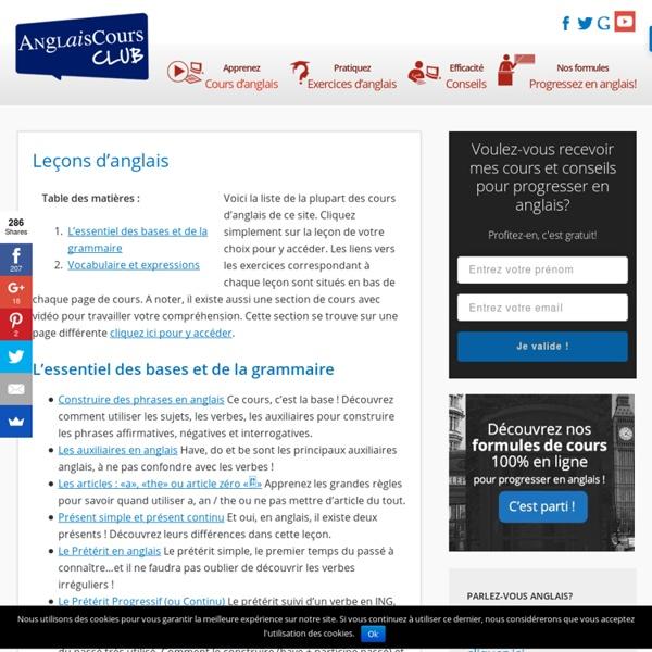 Anglais - leçons