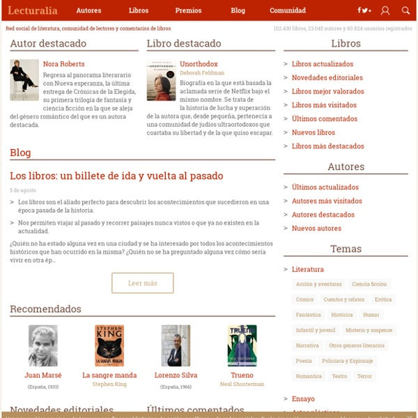 Lecturalia - Red social de literatura, comentarios de libros, libros y literatura, comunidad de lectores, rincón de lectura
