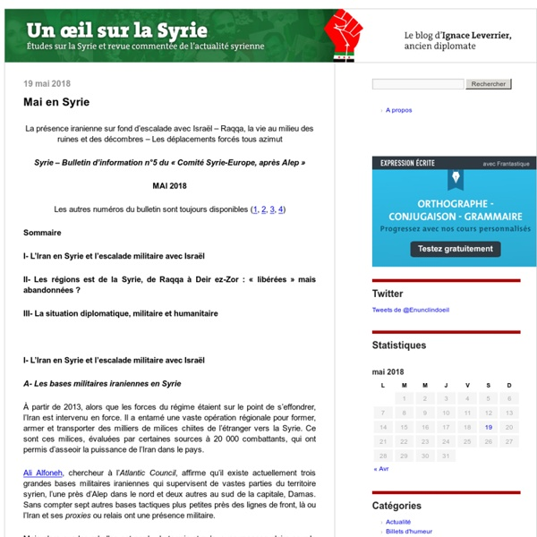 Un oeil sur la Syrie continue