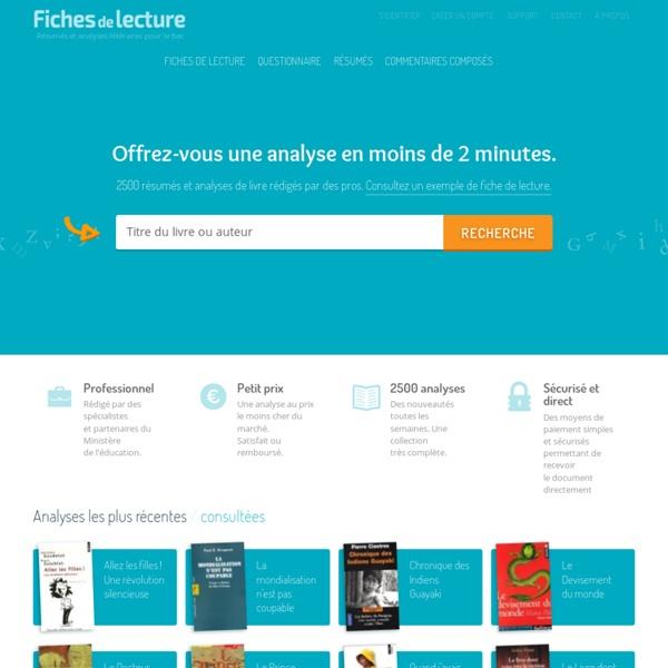 Fiches de lecture : résumés et analyses littéraires de qualité