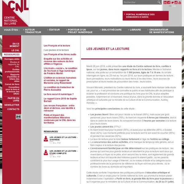 Les jeunes et la lecture - Études et rapports du CNL - Ressources
