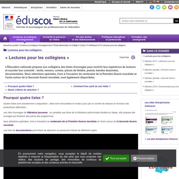 Lectures pour les collégiens - Liste de «Lectures pour les collégiens»