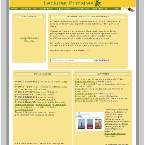 Lectures primaires. Des livres et des fiches