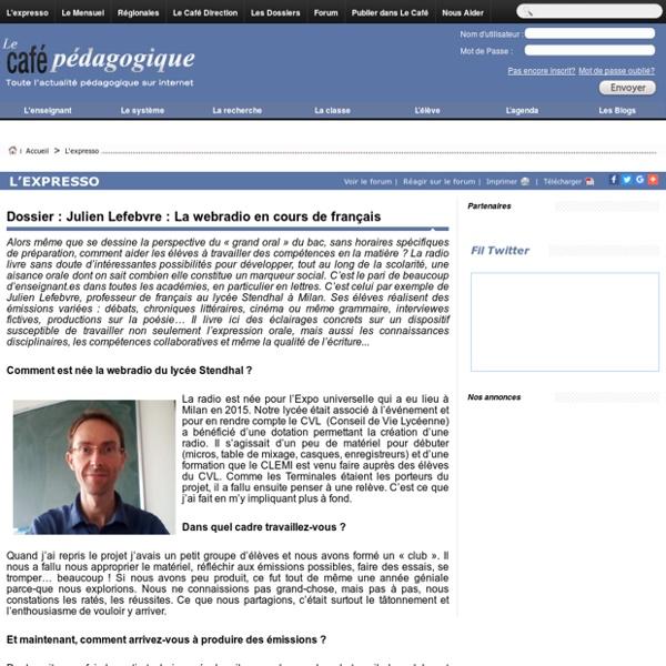 Dossier Café pédagogique - La webradio en cours de français