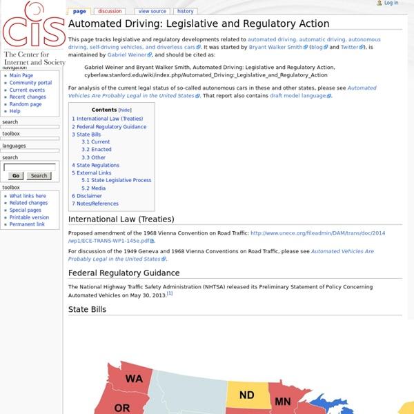 Automated Driving: Legislative and Regulatory Action - CyberWiki