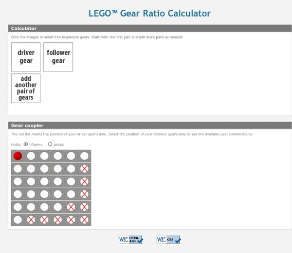 LEGO Gear Ratio Calculator