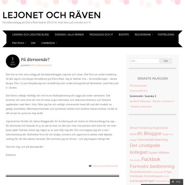 Förstelärarblogg på Östra Real, med fokus på svenska och IT