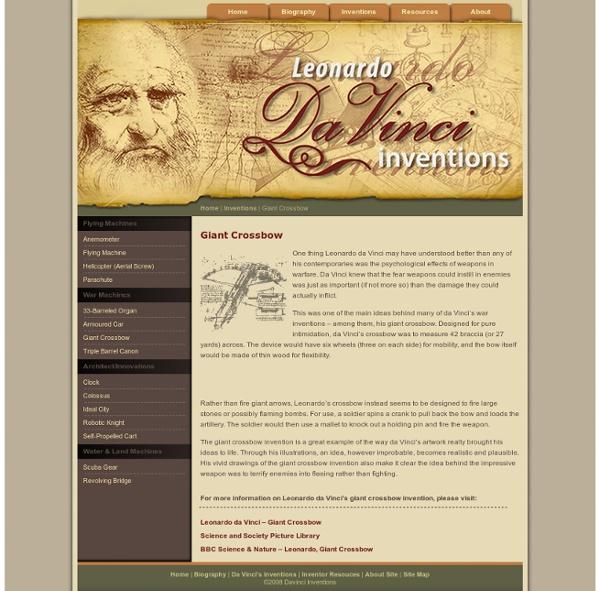 Léonard de Vinci Invention Arbalète Géante