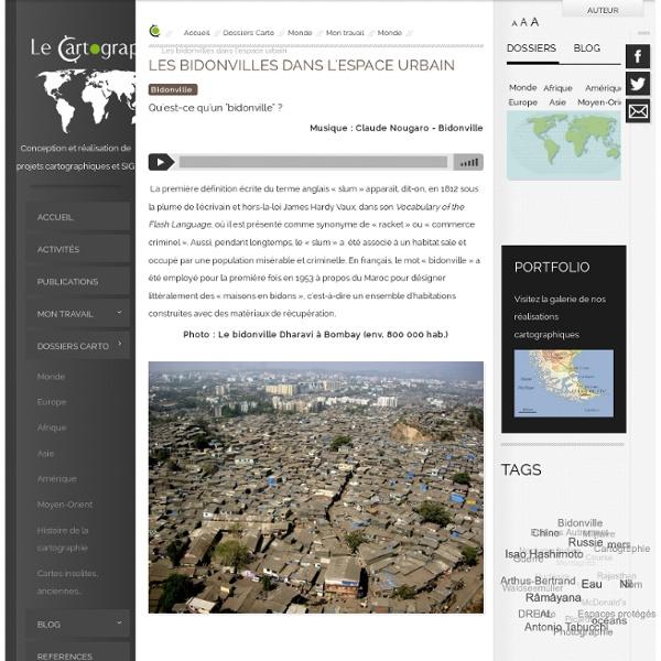 Les bidonvilles dans l'espace urbain