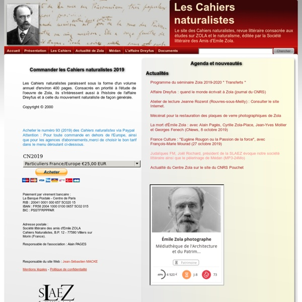 Zola - Les Cahiers naturalistes